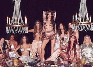 Kim Kardashian poses with friends for SKIMS silk pajama collection (Image: Instagram)
