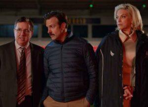 Jeremy Swift, Jason Sudeikis & Hannah Waddingham in 'Ted Lasso' (Image: Apple TV+)