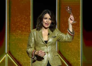NEW YORK, NEW YORK - FEBRUARY 28: Tina Fey speaks onstage during the 78th Annual Golden Globe® Awards at The Rainbow Room on February 28, 2021 in New York City. (Photo by Kevin Mazur/Getty Images for Hollywood Foreign Press Association)