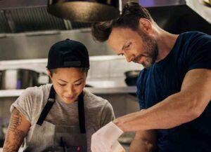 Fast Foodies' chef Kristen Kish with guest Joel McHale (Image: TruTV)