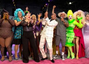 NEW YORK, NEW YORK - SEPTEMBER 07:RuPaul (C) cuts the ribbon as Michelle Visage, Jamal Sims, Mrs. Kasha Davis, Art SImone, Yvie Oddly, Brooklyn Hytes and Nina West look on during RuPaul's DragCon 2019 at The Jacob K. Javits Convention Center on September 07, 2019 in New York City. (Photo by Santiago Felipe/Getty Images)
