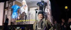 LONDON, ENGLAND - APRIL 08: Vivienne Westwood marks her 80th birthday by delivering a video message to the world on the Piccadilly Lights on April 08, 2021 in London, England. (Photo by Ki Price/Getty Images)