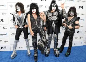"""NEW YORK, NEW YORK - JUNE 11: (L-R) Tommy Thayer, Paul Stanley, Gene Simmons, and Eric Singer of KISS attend the 2021 Tribeca Festival screening of """"Biography: KISStory"""" at The Battery on June 11, 2021 in New York City. (Photo by Monica Schipper/Getty Images)"""