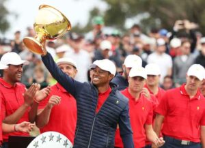 MELBOURNE, AUSTRALIA - DECEMBER 15: Playing Captain Tiger Woods and the United States team celebrate with the cup after they defeated the International team 16-14 during Sunday Singles matches on day four of the 2019 Presidents Cup at Royal Melbourne Golf Course on December 15, 2019 in Melbourne, Australia. (Image: Getty)