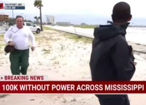 Benjamin Dagley accosts MSNBC reporter Shaquille Brewster live on air (Image: MSNBC)