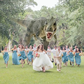 T-Rex Chases Guests In Wedding Photo For James Lowder And Katie Young