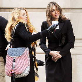 Blake Lively And Elizabeth Hurley Freeze Their Tweets Off While Filming 'Gossip Girl'