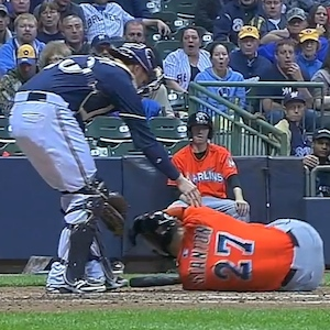 Giancarlo Stanton, Miami Marlins, Suffers Facial Fractures After Being Hit In The Face By Fastball From Pitcher Mike Fiers