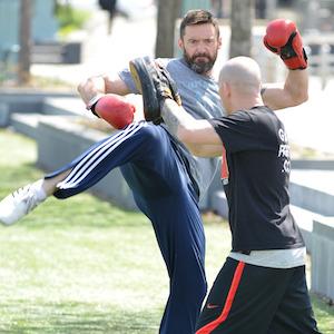 Hugh Jackman Kickboxes In NYC Park Preparing For 'Pan'