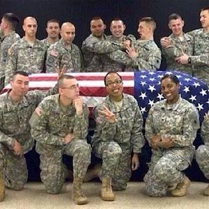 National Guard Members Pose In Front Of Empty Casket; Suspension Issued For Spc. Terry Harrison