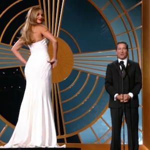 Sofia Vergara Appears In Emmys Bit Standing On A Pedestal, Emmys Blasted As Sexist