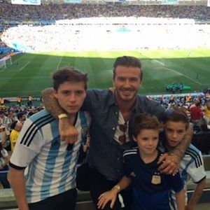 David Beckham And Sons Root For Argentina At 2014 World Cup Final